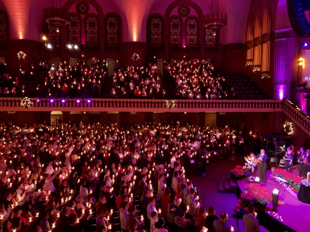 Christmas Eve candlelight service in The Moody Church Sanctuary